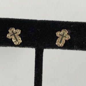 Vintage Accessories - Vintage 14K Gold Cross Earrings